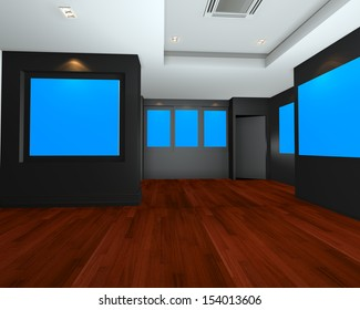 Empty room interior art gallery with blue chromakey canvas frame on black wall., 3d art gallery, animation, banner, clean space, presentation