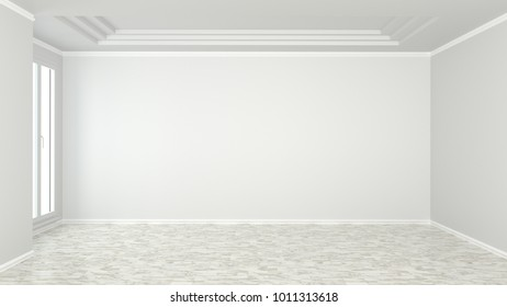 Empty room interior background. Empty wall mock up.Room interior. 3D rendering.