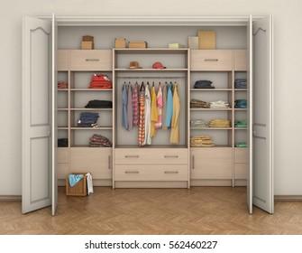 empty room interior and big closet with clothes; 3d illustration