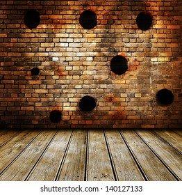 Empty room interior with brickwall and wooden floor. Bullet holes on wall