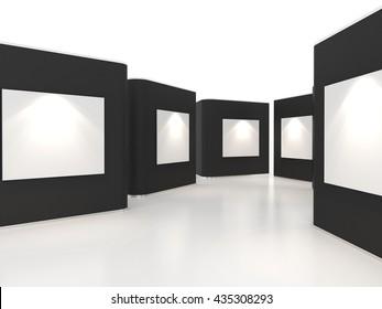 Empty room interior with large white canvas on black wall in the gallery, 3D Rendering