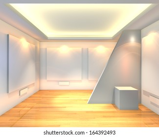 Empty room interior with white canvas on a white wall in the gallery.