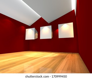 Empty room interior with white canvas on red wall in the gallery.