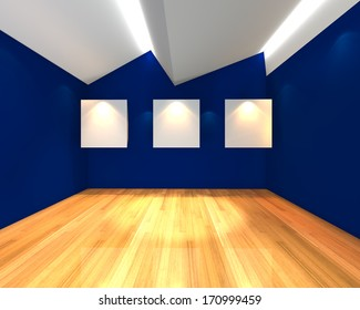 Empty room interior with white canvas on blue wall in the gallery.