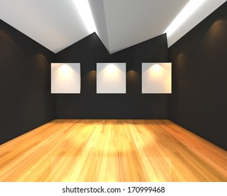 Empty room interior with white canvas on black wall in the gallery.