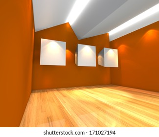 Empty room interior with white canvas on orange wall in the gallery.