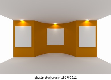 Empty room interior with white canvas on orange wall in the gallery