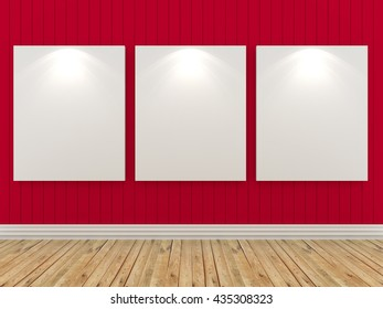 Empty room interior with white canvas on a red wall in the gallery. 3D rendering
