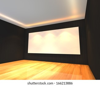 Empty room interior with white screen on abstract black wall in the meeting room.