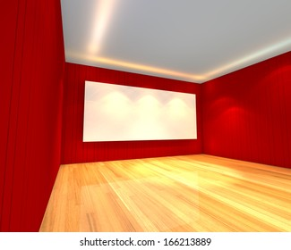 Empty room interior with white screen on abstract white wall in the meeting room.
