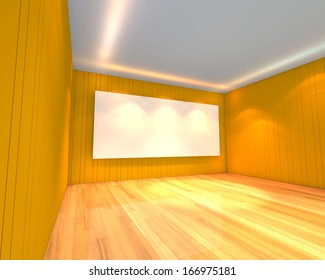 Empty room interior with white screen on abstract yellow wall in the meeting room.