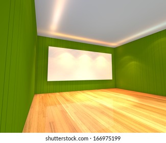 Empty room interior with white screen on abstract green wall in the meeting room.
