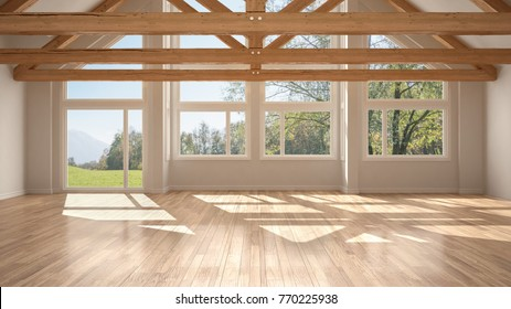 Empty room in luxury eco house, parquet floor and wooden roof trusses, panoramic window on summer spring meadow, modern white architecture interior design, 3d illustration