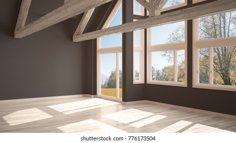 Empty room in luxury eco house, parquet floor and wooden roof trusses, panoramic window on autumnal meadow, modern white and gray architecture interior design, 3d illustration