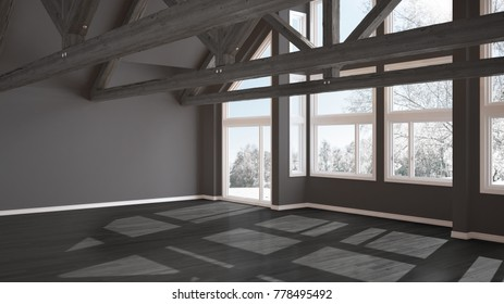 Empty room in luxury eco house, parquet floor and wooden roof trusses, panoramic window on winter meadow, modern gray architecture interior design, 3d illustration