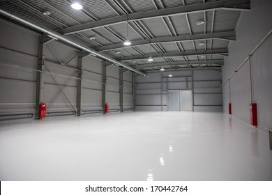 Empty room of modern storehouse, background for industry warehouse