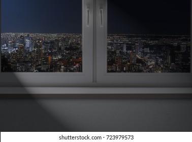 Empty room, night over the city