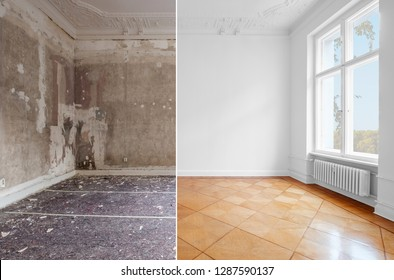 empty room in old building restoration concept,  before and after renovation