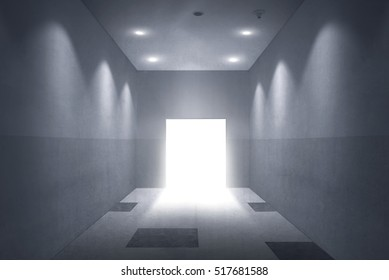 Empty room with open door. You can use this image for your design