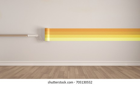 Empty room with paint roller and painted wall, wooden floor, white and yellow minimalist interior design, 3d illustration