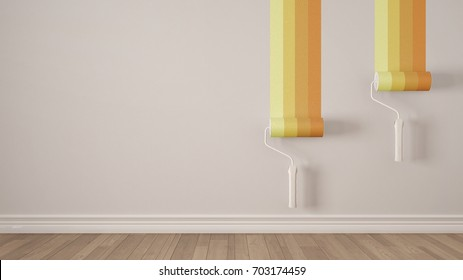 Empty room with paint rollers and painted wall, wooden floor, white and yellow minimalist interior design, 3d illustration