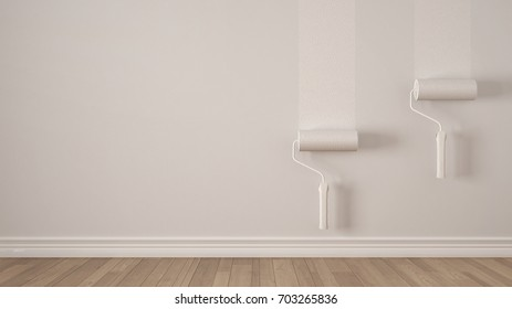 Empty room with paint rollers and painted wall, wooden floor, white minimalist interior design, 3d illustration