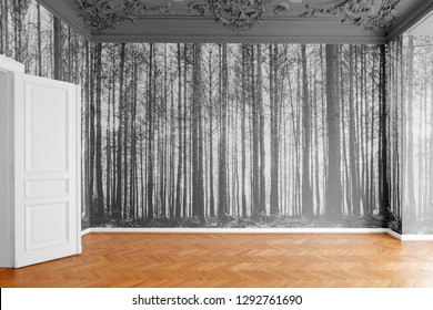 empty room with photo wallpaper with  forest landscape photography
