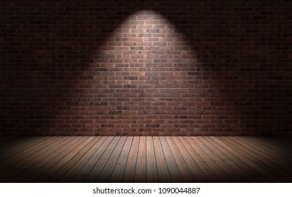 Empty room with red brick wall and wooden floor. 3d rendering