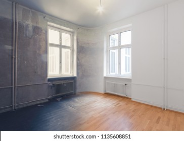 empty room renovation concept - before and after