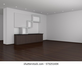 Empty room and Showcase 3d rendering