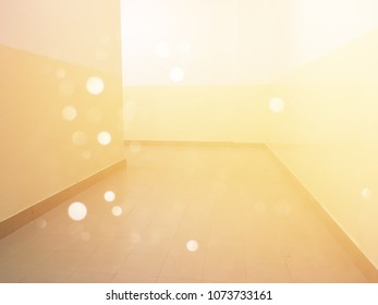 Empty room space with light leak and bokeh for background