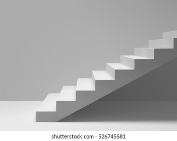 Empty room with stairs. 3D rendering