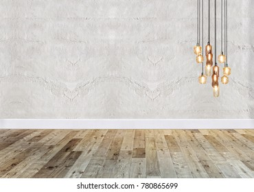 empty room stone wall and interior design. 3D rendering
