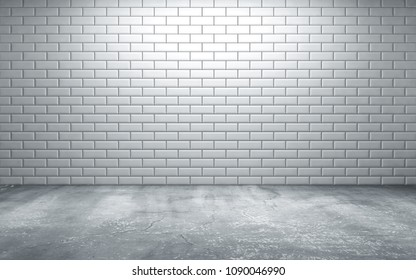 Empty room with tiles on wall and concrete floor. 3d rendering