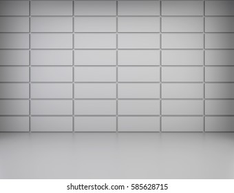 Empty room wall tiles with reflections on the floor. 3d rendering