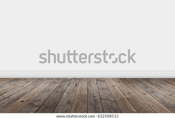 Empty room with wall and wooden floor texture.