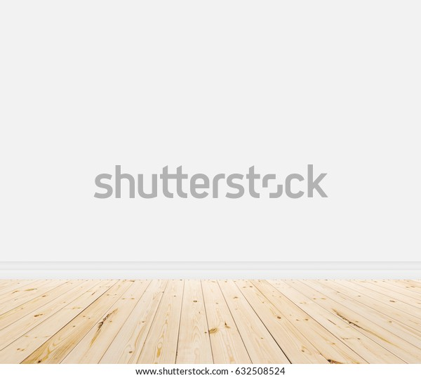 Empty room with wall and wooden floor texture in light color tone.