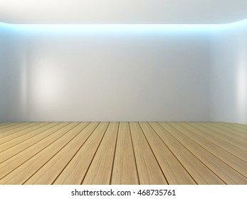 Empty room white curve wall with wooden floor, 3d illustration