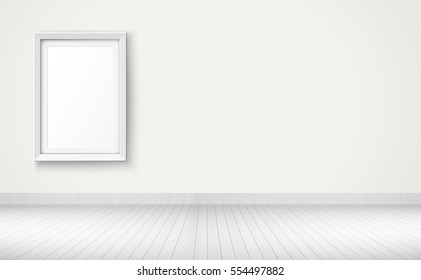 Empty room with white frame