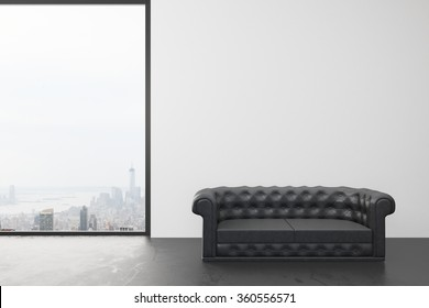 Empty room with white wall, big window with city view and black leather sofa