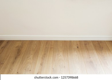 Empty room with white wall and PVC floor new clean modern design