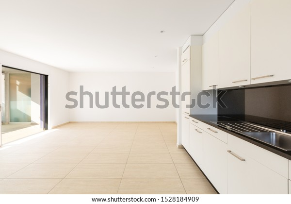 Empty Room White Walls Travertine Floor Stock Photo Edit Now