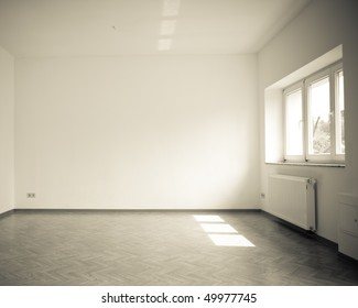 empty room with windows, vintage, dark monochrome