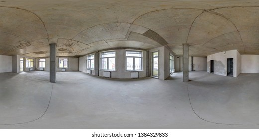 Empty room without repair. full seamless spherical hdri panorama 360 degrees in interior of white loft room office with panoramic windows in equirectangular projectio