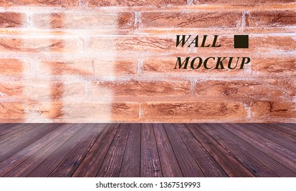 Empty room with wood floor, stone wall and customize mockup.