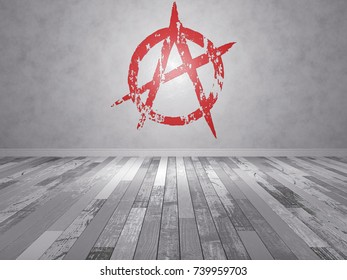 Anarchy sign vector image 431837029 shutterstock an empty room with a wooden floor an anarchy sign painted on the wall voltagebd Gallery