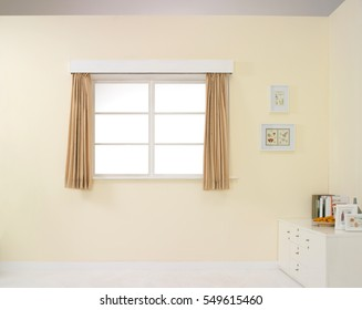 empty room , yellowish wall with window
