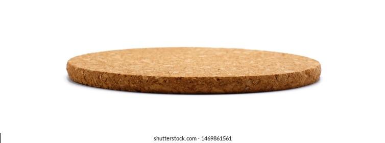 Empty round cork coaster, isolated on white background.