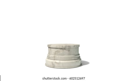 An empty round light marble stone trophy base on an isolated white studio background - 3D render
