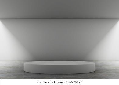 Empty round stage with Abstract elegant geometric of blank space and white walls. Modern concept background. 3d Render